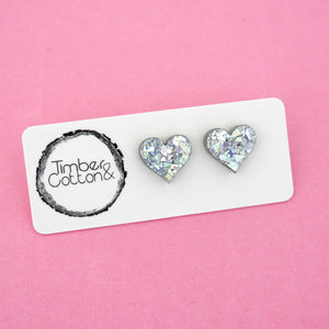 Heart 'Holographic Silver Flake' Stud Earrings - Timber & Cotton