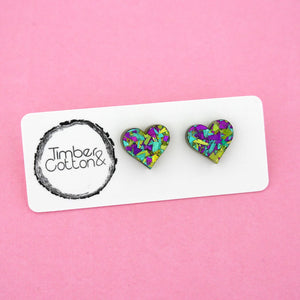 Heart 'Peacock Flake' Stud Earrings - Timber & Cotton