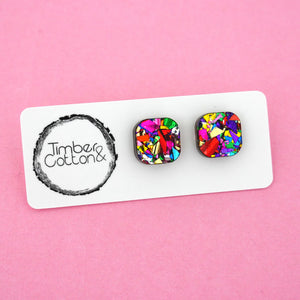 Square 'Rainbow Flake' Stud Earrings - Timber & Cotton