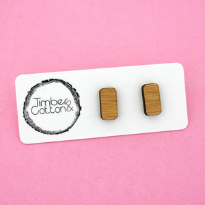 Small Rounded Rectangle 'Bamboo' Stud Earrings - Timber & Cotton