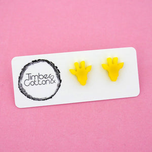 Giraffe Face 'Yellow' Stud Earrings - Timber & Cotton