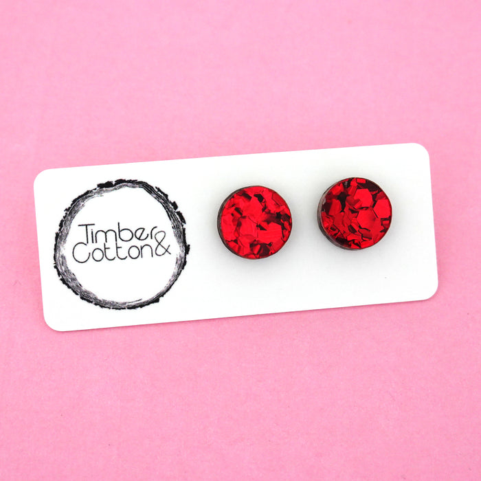 13mm 'Red Flake' Circle Stud Earrings - Timber & Cotton