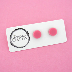 10mm 'Light Pink' Circle Stud Earrings - Timber & Cotton
