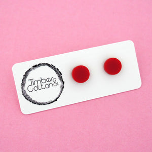 10mm 'Red' Circle Stud Earrings - Timber & Cotton
