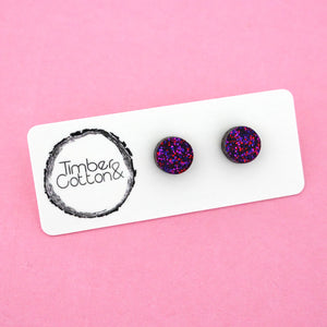 10mm 'Ruby Glitter' Circle Stud Earrings - Timber & Cotton