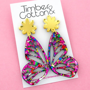 Rainbow Flake Butterfly Dangle Earring- Timber & Cotton