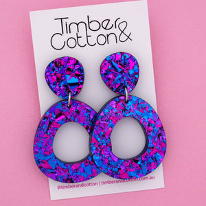 Mia 'Purple Party Flake' Dangle Earring- Timber & Cotton