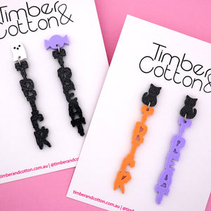 Cat with Mismatch Pastel 'Trick or Treat' Halloween Dangle Earring- Timber & Cotton