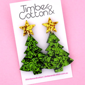 'Oh Christmas Tree' Dangle Earrings in Gold Flake & Green Flake- Timber & Cotton