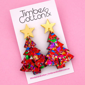 'Oh Christmas Tree' Dangle Earrings in Gold Mirror & Red Rainbow Flake- Timber & Cotton