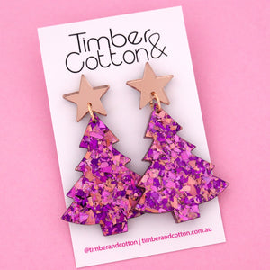 'Oh Christmas Tree' Dangle Earrings in Rose Gold Mirror & Unicorn Flake- Timber & Cotton
