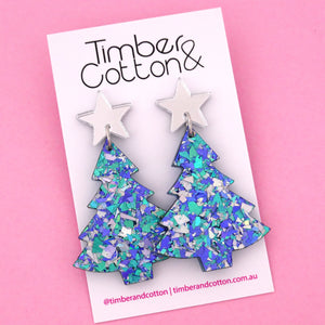 'Oh Christmas Tree' Dangle Earrings in Silver Mirror & Ocean Flake- Timber & Cotton
