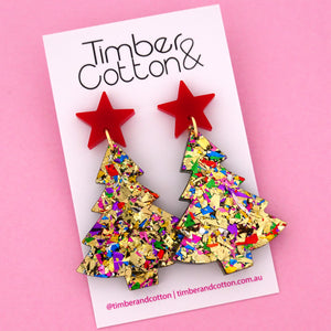 'Oh Christmas Tree' Dangle Earrings in Red & Golden Rainbow Flake- Timber & Cotton