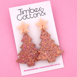 'Oh Christmas Tree' Dangle Earrings in Pale Pink & Holographic Rose Gold Flake- Timber & Cotton