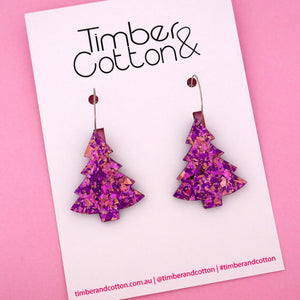 'Oh Christmas Tree' Hoop Earring in Unicorn Flake- Timber & Cotton