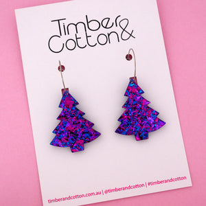 'Oh Christmas Tree' Hoop Earring in Purple Party Flake- Timber & Cotton