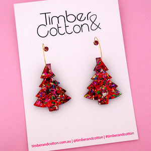 'Oh Christmas Tree' Hoop Earring in Red Rainbow Flake- Timber & Cotton