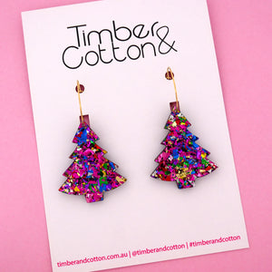 'Oh Christmas Tree' Hoop Earring in Rainbow Flake- Timber & Cotton