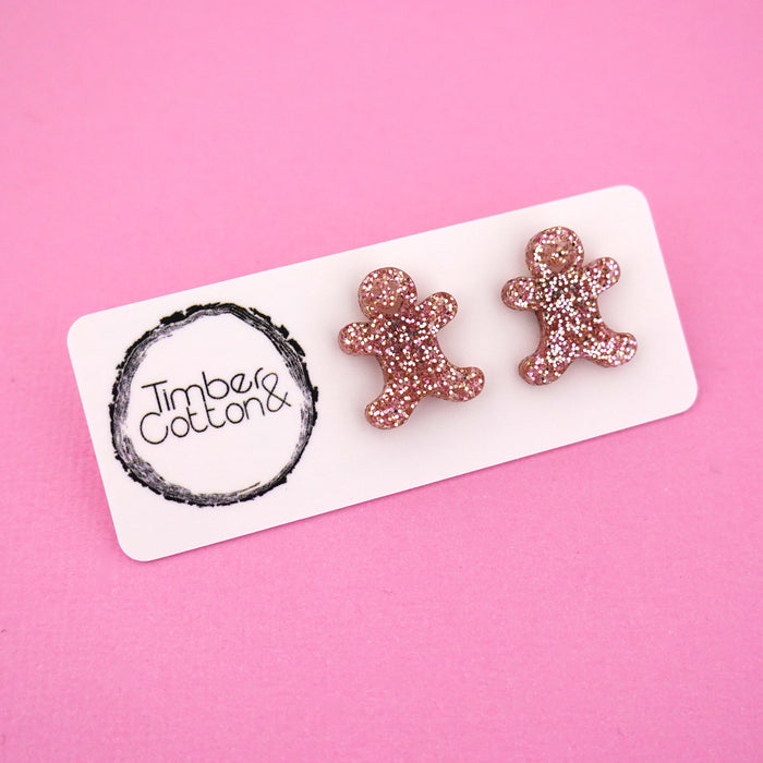 Gingerbread Man 'Rose Gold Glitter' Stud Earrings - Timber & Cotton