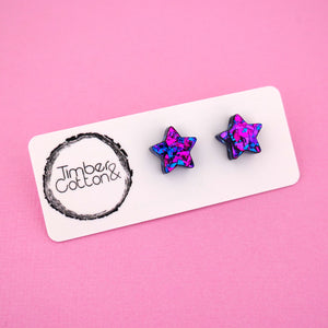 Star 'Purple Party Flake' Stud Earrings - Timber & Cotton
