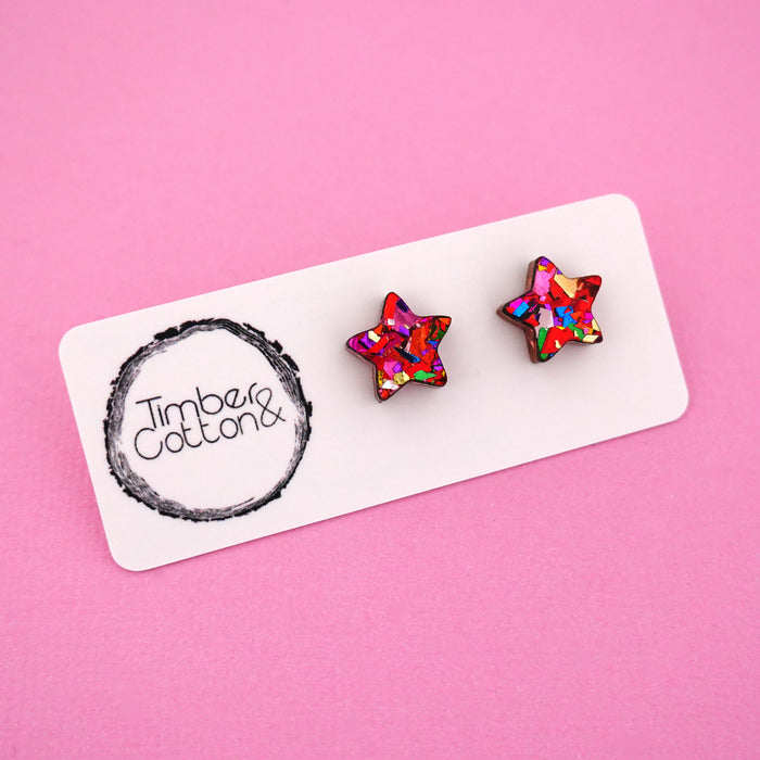 Star 'Red Rainbow Flake' Stud Earrings - Timber & Cotton