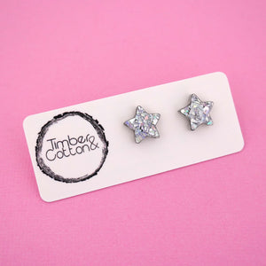 Star 'Holographic Silver Flake' Stud Earrings - Timber & Cotton