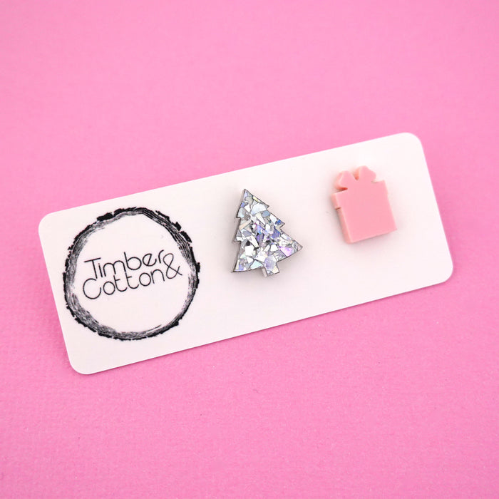 Christmas Tree & Present 'Holographic Silver Flake & Blush Pink' Mismatch Stud Earrings - Timber & Cotton