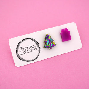 Christmas Tree & Present 'Peacock Flake & Purple' Mismatch Stud Earrings - Timber & Cotton