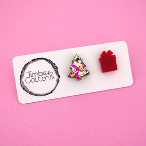 Christmas Tree & Present 'Golden Rainbow Flake & Red' Mismatch Stud Earrings - Timber & Cotton