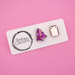 Christmas Tree & Present 'Unicorn Flake & Rose Gold Mirror' Mismatch Stud Earrings - Timber & Cotton
