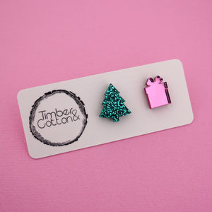 Christmas Tree & Present 'Green Glitter & Pink Mirror' Mismatch Stud Earrings - Timber & Cotton