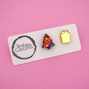 Christmas Tree & Present 'Red Rainbow Flake & Gold Mirror' Mismatch Stud Earrings - Timber & Cotton