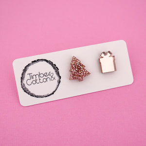 Christmas Tree & Present 'Rose Gold Glitter & Rose Gold Mirror' Mismatch Stud Earrings - Timber & Cotton