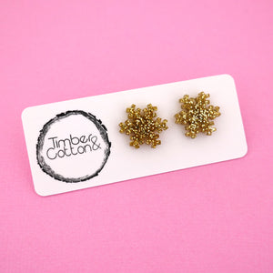 Snowflake 'Gold Glitter' Stud Earrings - Timber & Cotton