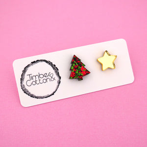 Christmas Tree & Star 'Christmas Flake & Gold Mirror' Mismatch Stud Earrings - Timber & Cotton
