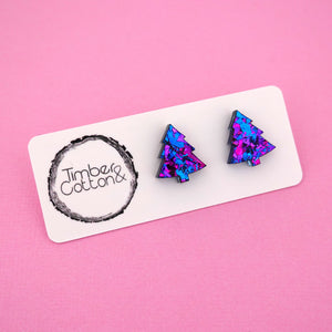 Christmas Tree 'Purple Party Flake' Stud Earrings - Timber & Cotton