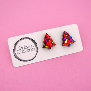 Christmas Tree 'Red Rainbow Flake' Stud Earrings - Timber & Cotton