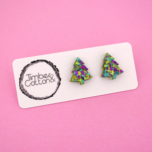 Christmas Tree 'Peacock Flake' Stud Earrings - Timber & Cotton