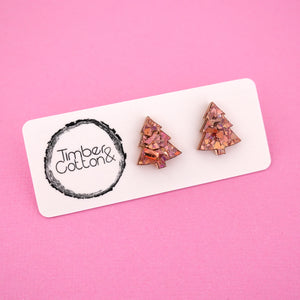Christmas Tree 'Holographic Rose Gold Flake' Stud Earrings - Timber & Cotton