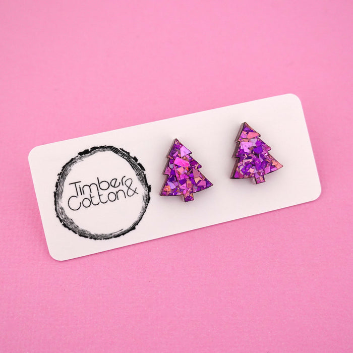 Christmas Tree 'Unicorn Flake' Stud Earrings - Timber & Cotton