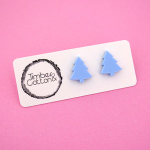 Christmas Tree 'Matte Pastel Blue' Stud Earrings - Timber & Cotton