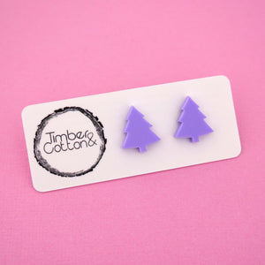Christmas Tree 'Matte Lilac' Stud Earrings - Timber & Cotton
