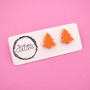 Christmas Tree 'Matte Pastel Orange' Stud Earrings - Timber & Cotton