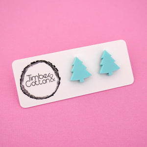 Christmas Tree 'Matte Mint' Stud Earrings - Timber & Cotton