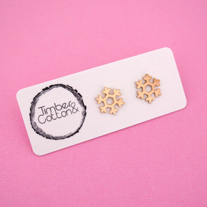 Snowflake 'Rose Gold Metallic' Stud Earrings - Timber & Cotton