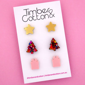Christmas 'Gold Mirror, Red Rainbow Flake & Blush Pink' Triple Stud Earrings Pack - Timber & Cotton