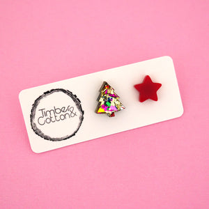 Christmas Tree & Star 'Golden Rainbow Flake & Red' Mismatch Stud Earrings - Timber & Cotton