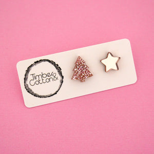 Christmas Tree & Star 'Rose Gold Glitter & Rose Gold Mirror' Mismatch Stud Earrings - Timber & Cotton