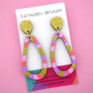 Organic Loopy 'Gold & Pastel' Hand Painted Wood Dangle Earring- Kathleen Benham