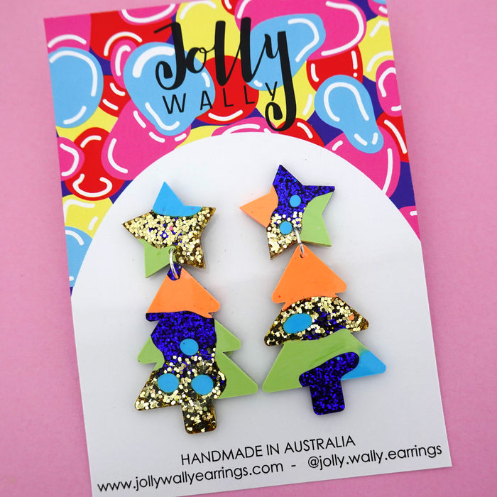 Resin Christmas Tree Dangles 'Colour 19'- Jolly Wally